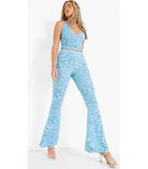 marmerprint bralette en broek met wijde pijpen set, blue