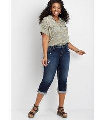 plus size jeans silver jeans co.® womens suki dark wash destructed capri blue denim - maurices