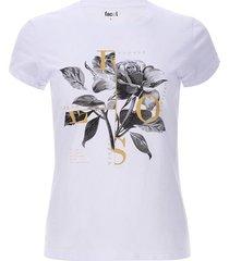camiseta flor y letras color blanco, talla m
