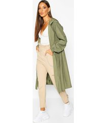 hooded belted trench coat, khaki