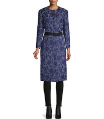 floral embroidered silk, cotton & wool-blend coat