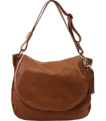 tuscany leather tl141110 tl bag - borsa morbida a tracolla con nappa cannella