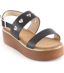 sandalia casual plana tipo confort para dama negro 932689-328negro