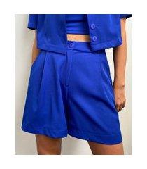 bermuda feminina mindset cintura alta alfaiataria com bolsos azul royal