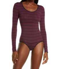 yummie long sleeve bodysuit, size small in potent purple/black stripe at nordstrom