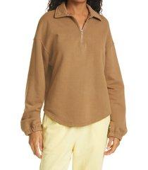 women's raquel allegra zip collar sweatshirt, size 0 - brown