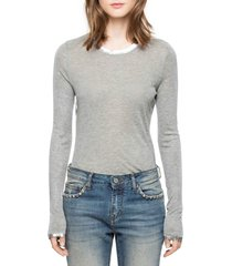 women's zadig & voltaire willy foil tee, size small - grey