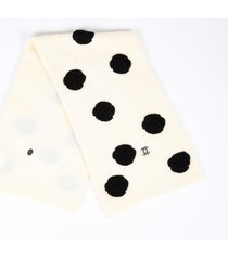 chanel camellia cream black mohair wool cashmere cc turn lock scarf black/cream sz: