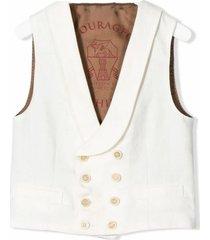 brunello cucinelli white silk-linen-wool blend vest