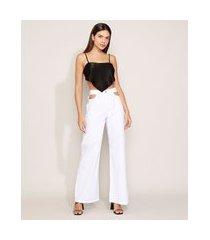 calça de sarja feminina mindset wide pantalona cintura alta cut out branca