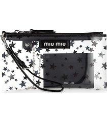 miu miu women's star-print pvc wristlet pouch - nero