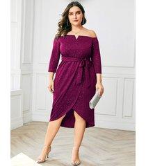 yoins plus tamaño púrpura brilho fuera del hombro vestido