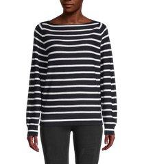 vince women's striped waffle-knit pullover - coastal optic white - size xs