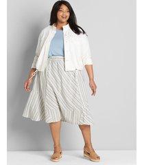 lane bryant women's striped midi skirt 14/16 blue/gray