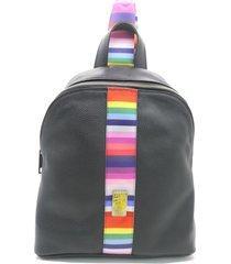 mochila de cuero negra leblu