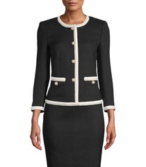 women's anne klein braided trim jacket, size 2 - black