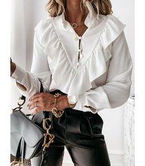 camicetta casual da donna a maniche lunghe in tinta unita con stampa a pois