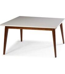mesa de madeira retangular 160x90 cm novita 609-2 cacau/branco - maxima