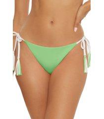women's becca fine line reversible side tie bikini bottoms, size large - green