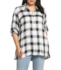 plus size women's single thread plaid tunic top, size 3x - white