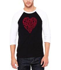 men's crazy little thing called love raglan baseball word art t-shirt