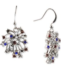 holiday lane silver-tone red, white & blue pave firework drop earrings, created for macy's