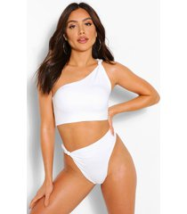 one shoulder twist knot detail bikini top, ivory