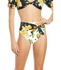 women's river island floral wrap high waist bikini bottoms, size 2 us - white