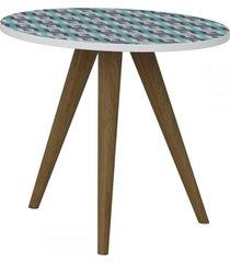 mesa de canto redonda 1005 retro branco/estampa azul - bentec