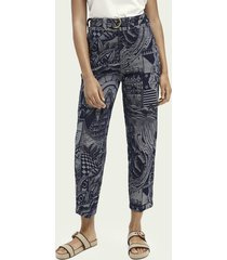 scotch & soda high-rise belted denim boyfriend chino