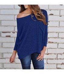 zanzea mujeres hombro de punto acanalado tapas de la camisa blusa ocasional del puente batwing tops azul -azul