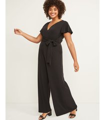 lane bryant women's faux-wrap flutter sleeve jumpsuit 18/20 black