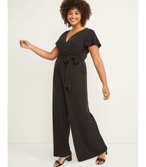 lane bryant women's faux-wrap flutter sleeve jumpsuit 22/24 black