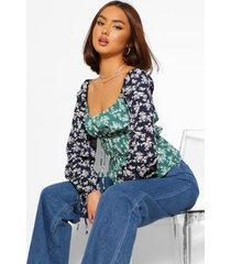 bloemenprint blouse met lange mouwen, groen