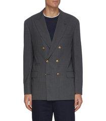 double breast peak lapel wool blazer