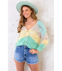 gehaakt vest tricolore mint