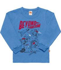 camiseta livy inverno dino space azul ártico