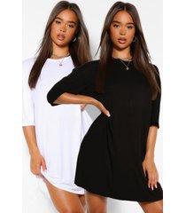 2 pack oversized t-shirt dress, blackwhite