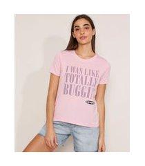 camiseta as patricinhas de beverly hills flocada manga curta decote redondo lilás