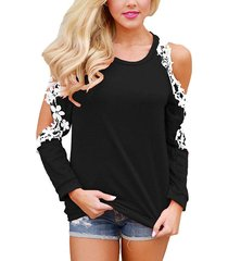 black round neck crochet lace trim cold shouder top