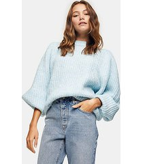 blue statement sleeve knitted sweater - blue