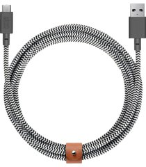 belt extra long usb-a to usb-c charging cable - zebra