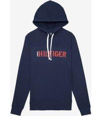 tommy hilfiger men's hilfiger hoodie navy - m