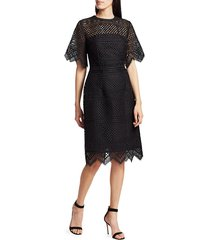 carolina herrera women's crochet lace bell-sleeve sheath dress - black - size 2