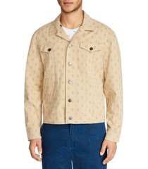 tallia men's slim-fit stretch mini skull print trucker jacket