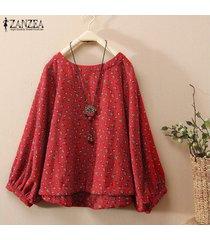zanzea de mujeres de la impresión floral informal camisa de la blusa de cuello redondo asimétrica hem tops plus -rojo