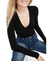 women's madewell wrap bodysuit, size x-large - black