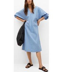 mango popelin puffed sleeves dress