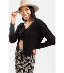 women's kimmie front tie cardigan in black by francesca's - size: l