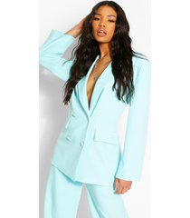 double breasted blazer, aqua